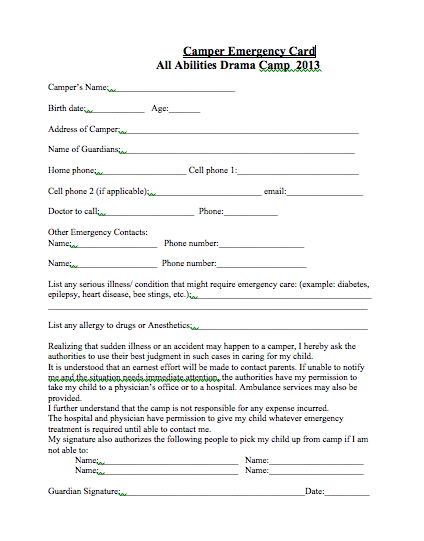 All Abilities Drama Camp INC March 2013 – Payment Received Form