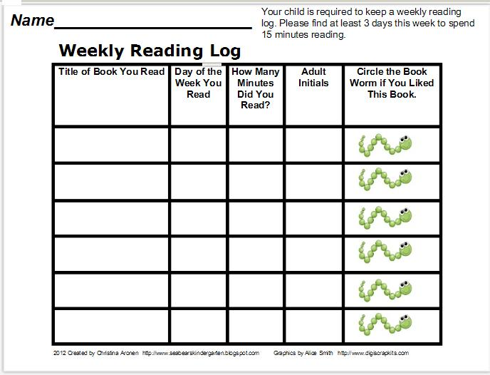 "Monthly Reading Log Calendar : Search results for ""monthly reading logs kindergarten"