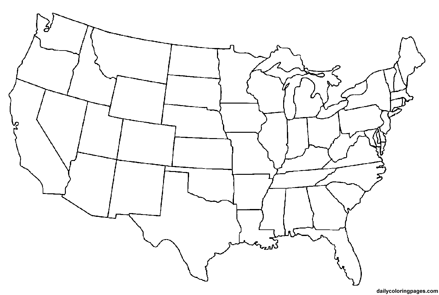 Line Drawing United States Map : Laminas para colorear coloring pages mapa de estados
