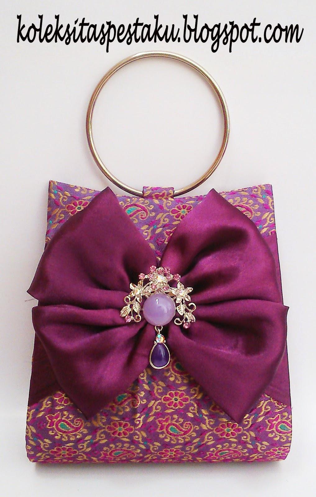 Tas Pesta Dompet Cantik Ungu Tua Purple Mewah