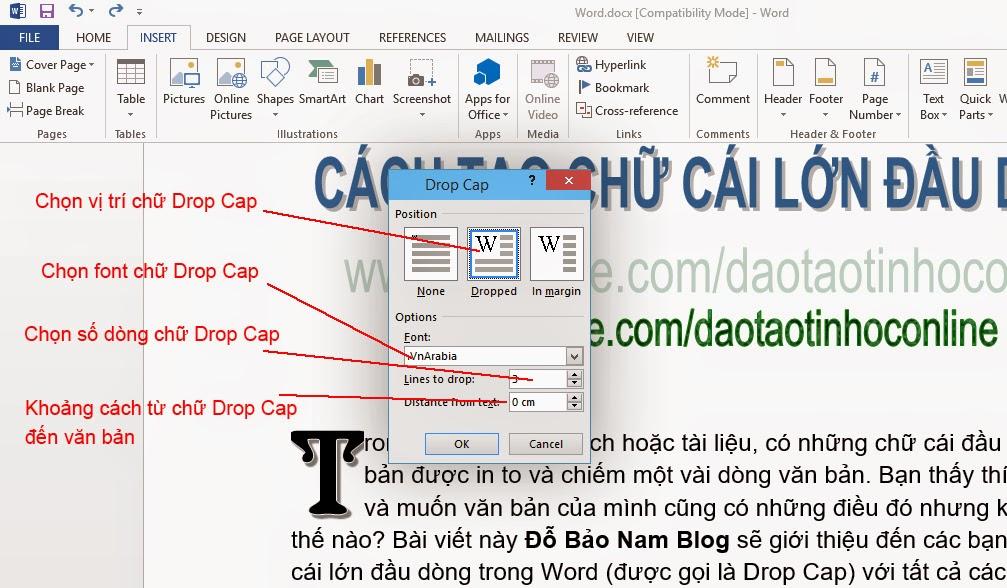 Cách tạo chữ cái lớn đầu dòng trong Word 2007, Word 2010, Word 2013
