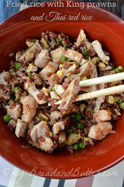 Fried rice with king prawns and Thai red rice
