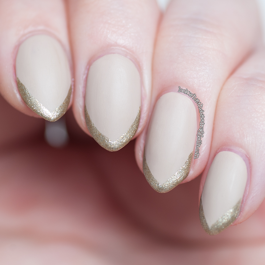 Essie Sand Tropez, Illamasqua Swinger and Matte top coat swatch mani nail polish elegant nail art
