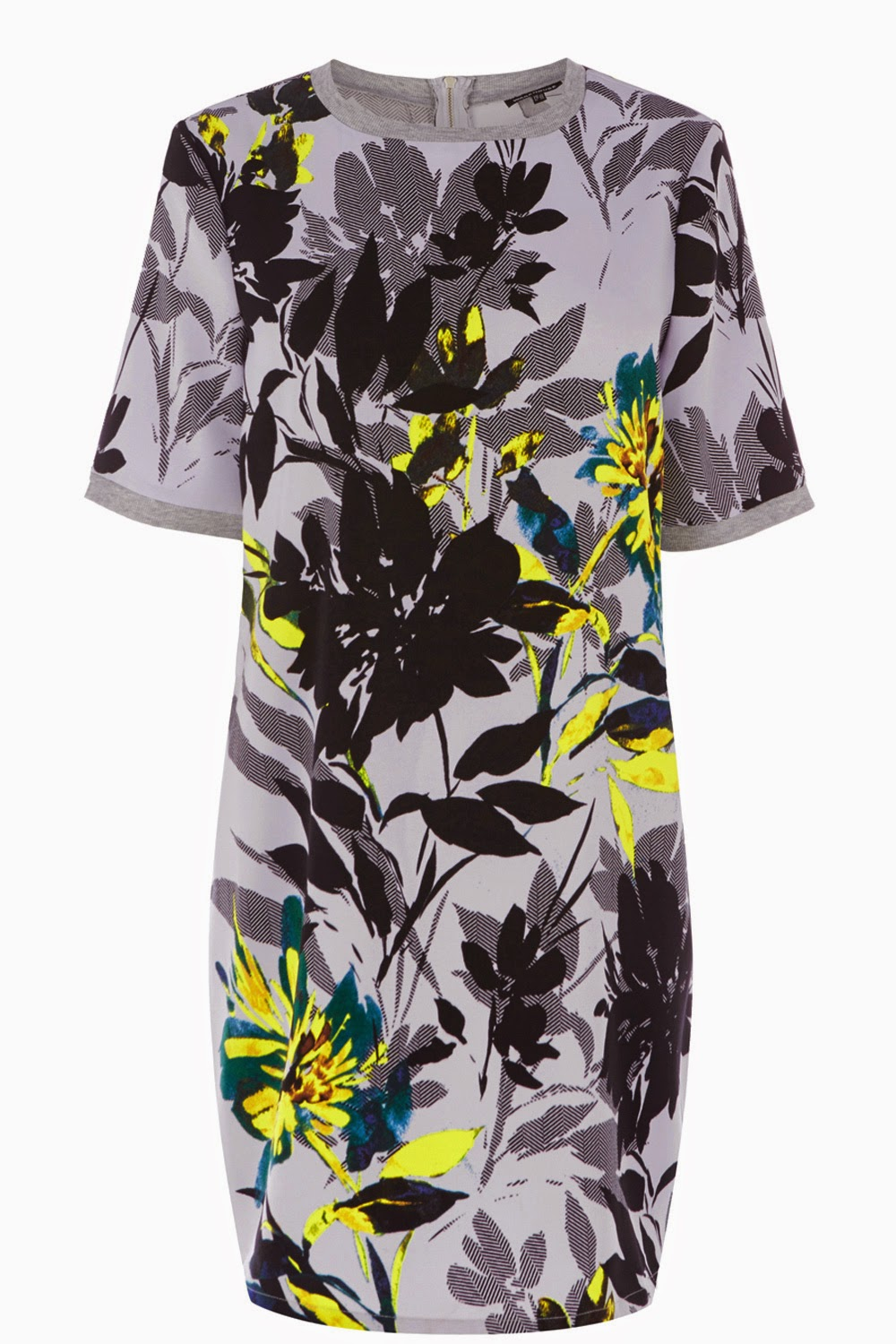 warehouse floral dress grey