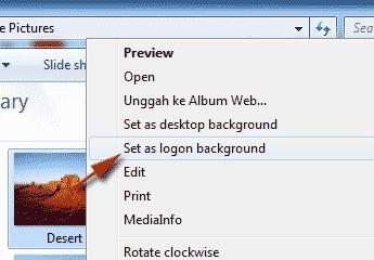 mengganti gambar logon screen menggunakan klik kanan pada gambar