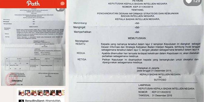 Foto SK Pengangkatan Banyu Biru Jadi Anggota BIN