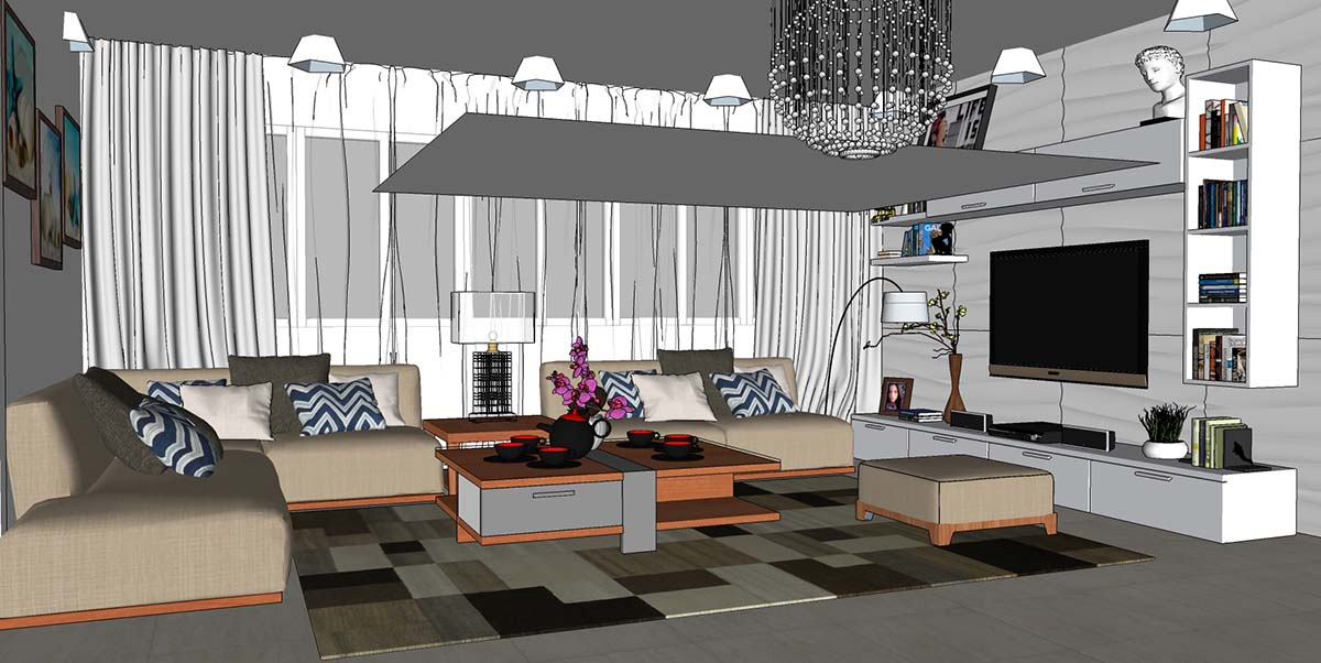 SKETCHUP TEXTURE: Great free sketchup model modern living area #40 ...