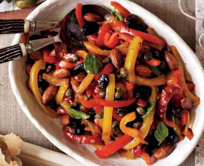 Capsicums with Almonds, Capers and Raisins