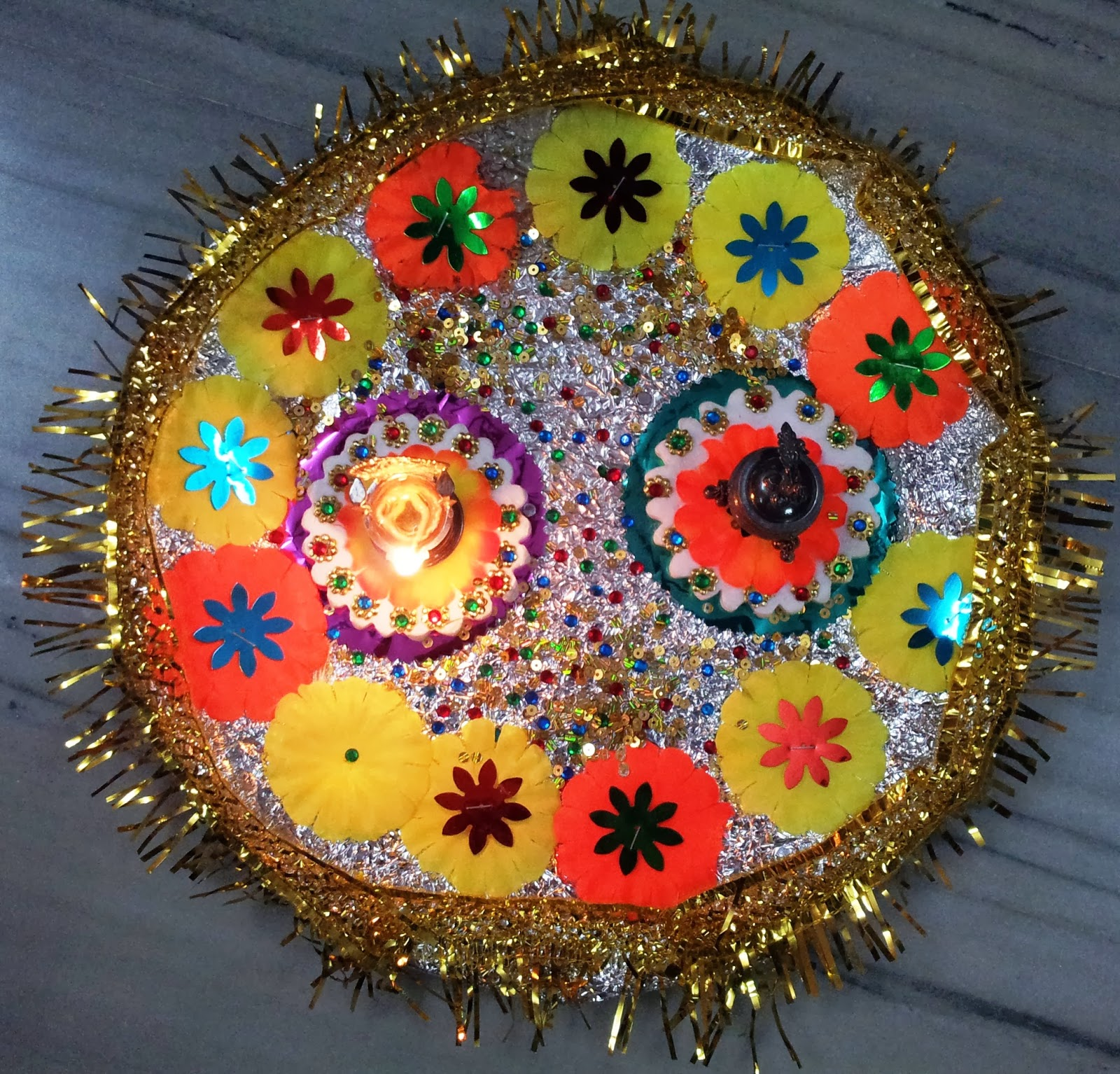 Malini 39 s creationz arthi thali plate decoration for Aarthi plates decoration