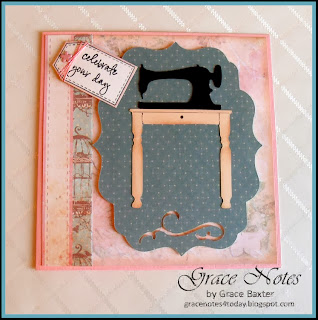 Sewing Sister Birthday card front sewing machine
