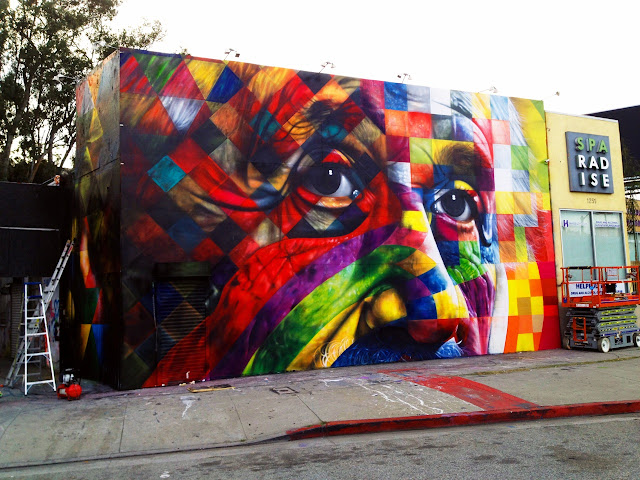 Street Art Portrait Of Einstein By Eduardo Kobra In Los Angeles, USA. 3