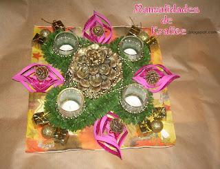 Cascada de flores centro de mesa navide o manualidades - Centros de mesa navidenos manualidades ...