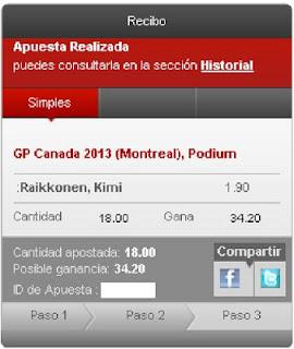 Apuestas Deportivas rosbergFórmula 1 – GP de Canadá raikkonen cirsa