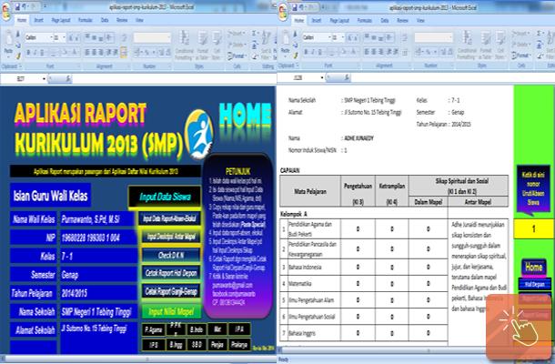 Aplikasi Raport SMP Kurikulum 2013 dengan Microsoft Excel