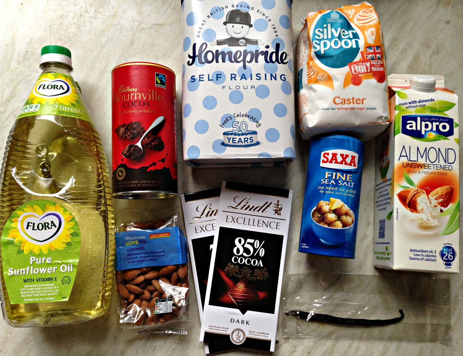 chocolate and almond brownies ingredients