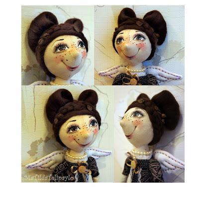 Лицо текстильной куклы. Кофейная фея.