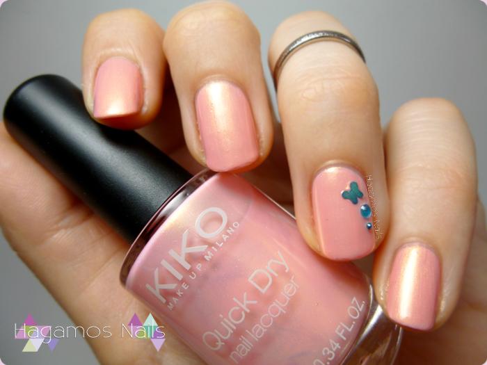 Manicura rosa shimmer dorado. Hagamos Nails