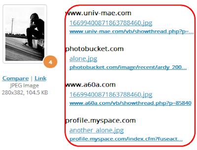 pencarian situs yang memakai foto kita