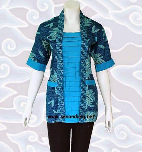 baju blus atasan batik wanita untuk kerja