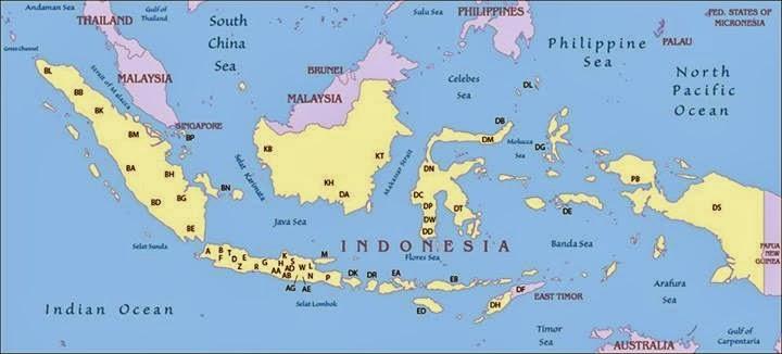 Pemetaan Kode Nomer Kendaraan di Indonesia....!!!