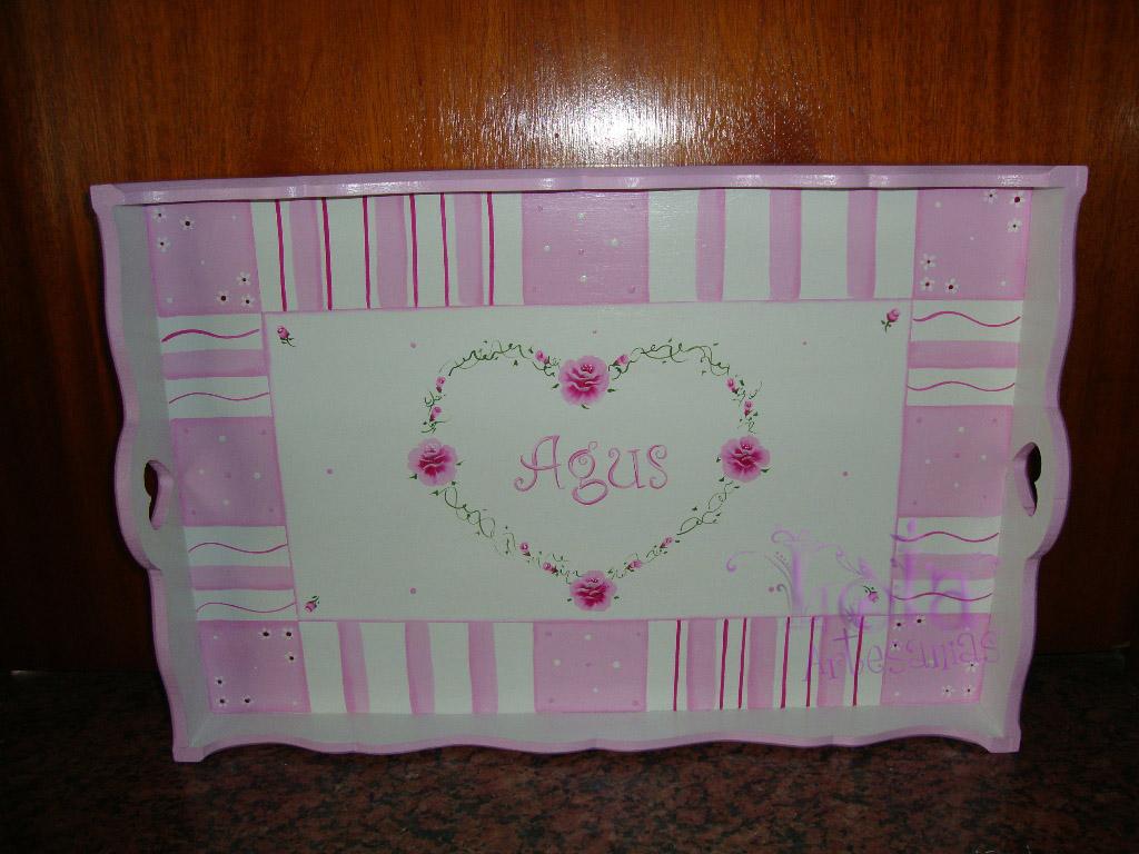 Lola artesan as bandeja con patas patchwork rosa personalizada - Bandeja con patas ...