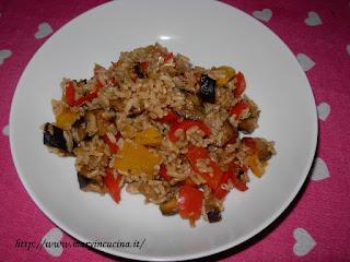 risotto con peperoni e melanzane