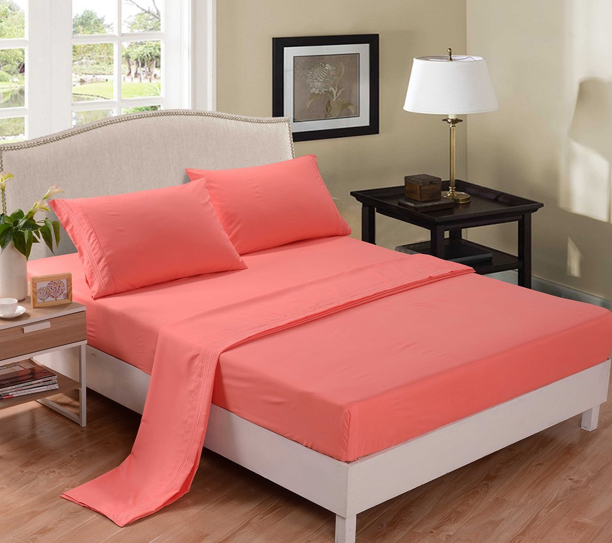 Coral Colored Bedding; 4 Pc Set Solid Coral Bed Sheets