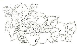 cesto de frutas para pintar