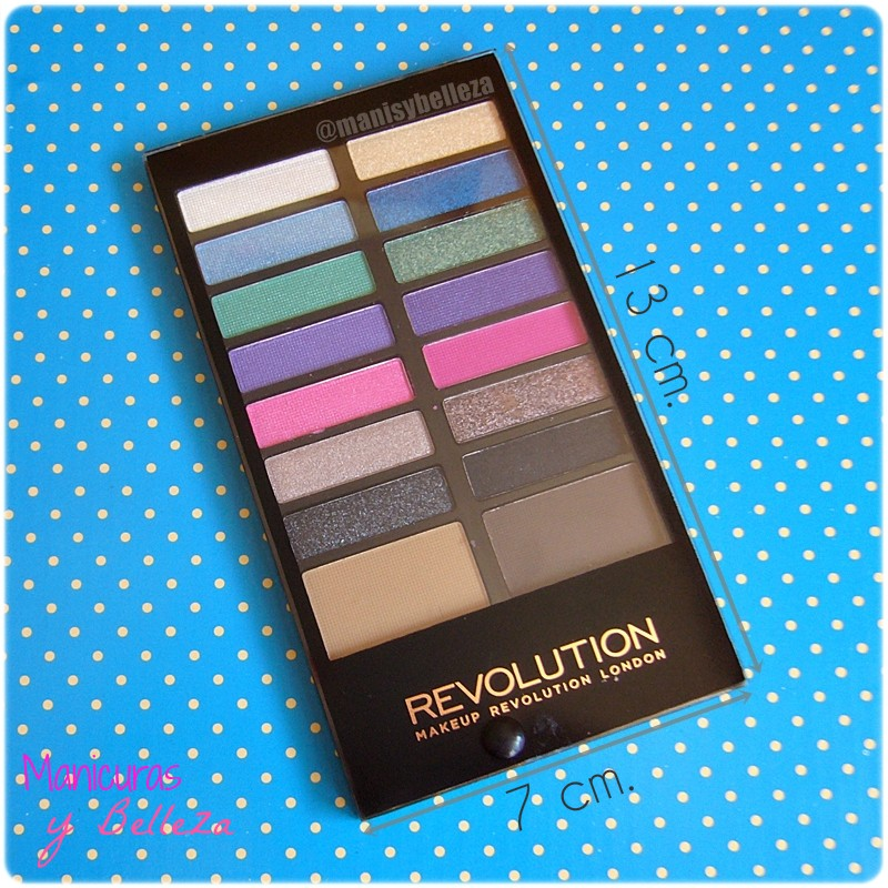 Paleta de sombras de ojos y cejas Awesome - Sticks & Stones de MakeUp Revolution | Awesome Eyeshadow and Eyebrow Palette (Maquillalia) Tamaño