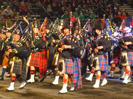 Edinburgh Military Tatoo, pipers, massed bands