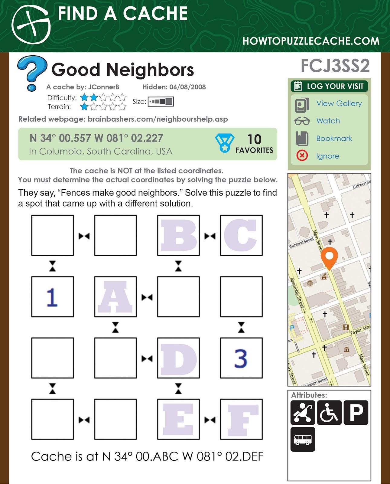 PUZZLE CACHE PRACTICE: Mystery Monday: FCJ3SS2: Good Neighbors