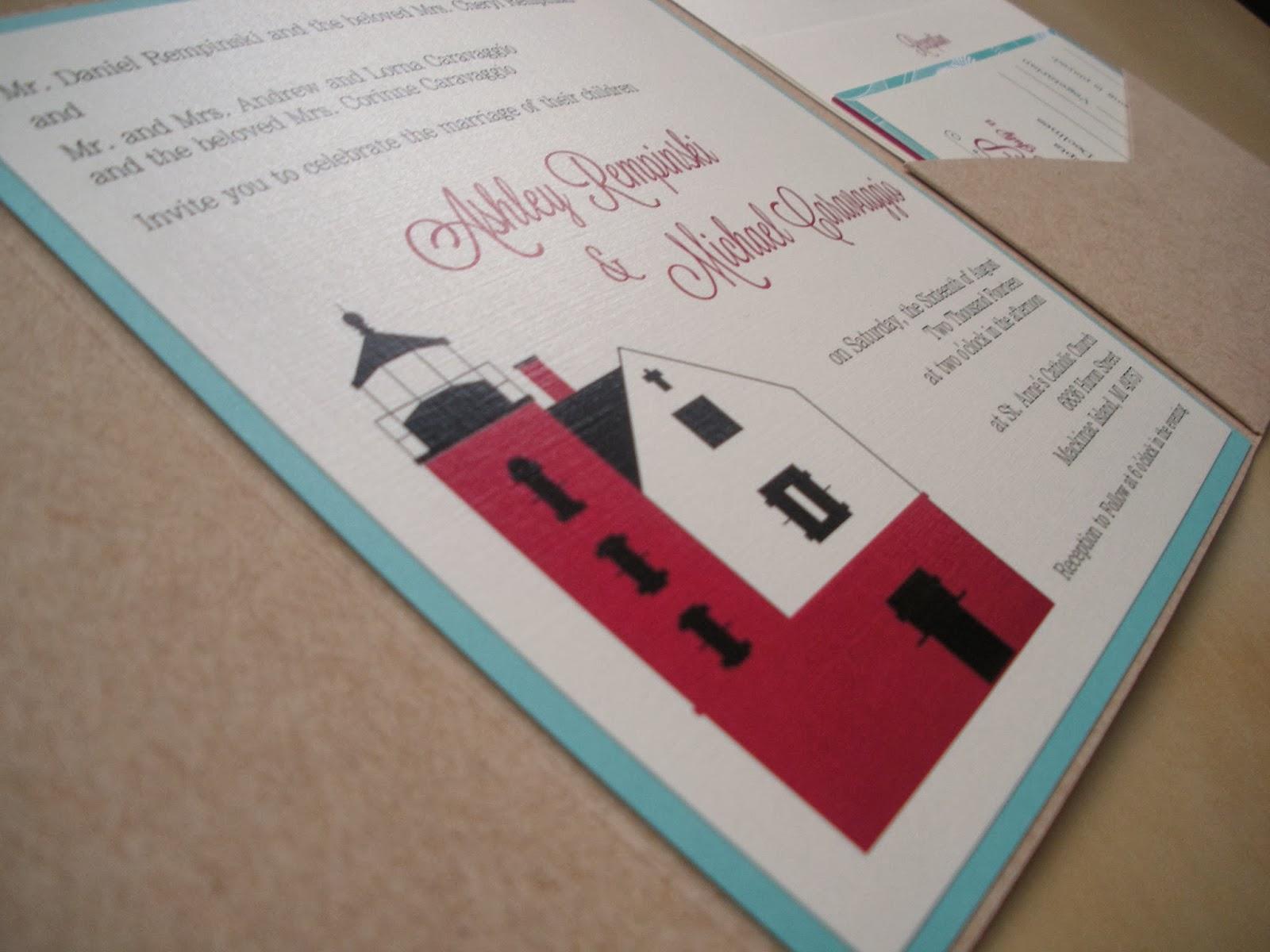 Vivian Elle Invitations: Ashley and Michael\'s Mackinac Island Pocket ...