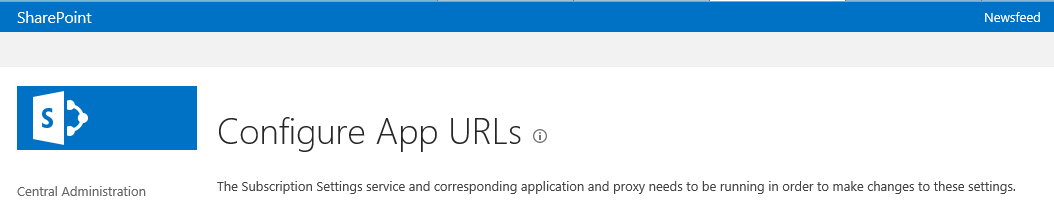 SharePoint 2013 Config App URL