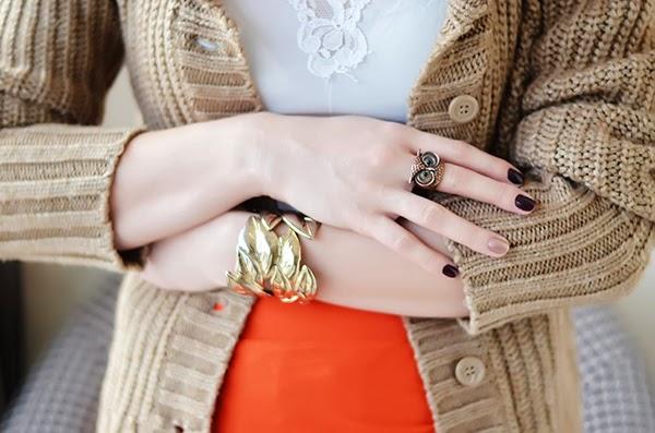 maxi skirt Mango camel knit sweater slip owl ring Topshop bracelet