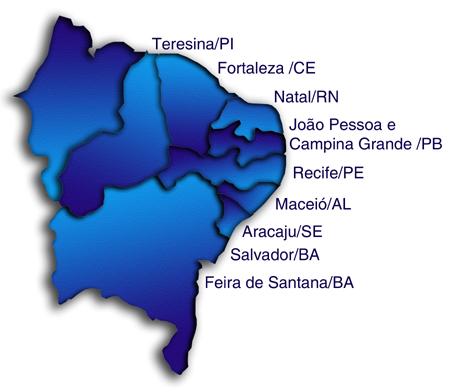 mapa do brasil por regioes. A região nordeste do Brasil é