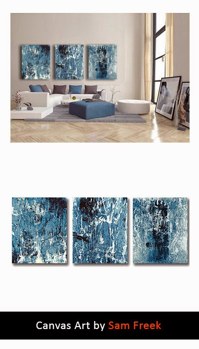 canvas art, canvas wall art, contemporary, modern, wall art, abstract, blue, triptych, urban decay, industrial,