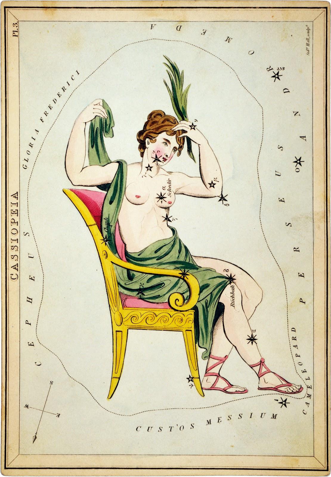 Cassioepia. Hình vẽ bởi họa sĩ người Anh Sidney Hall. Nguồn : Thư viện Quốc hội Hoa Kỳ.