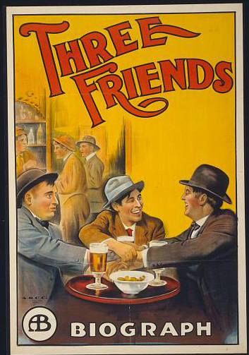 classic posters, food, free download, graphic design, movies, retro prints, theater, vintage, vintage posters, movies, Three Friends, A Biograph Film - Vintage Movie Poster