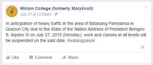 Official List of School with Class Suspension July 27, 2015 SONA