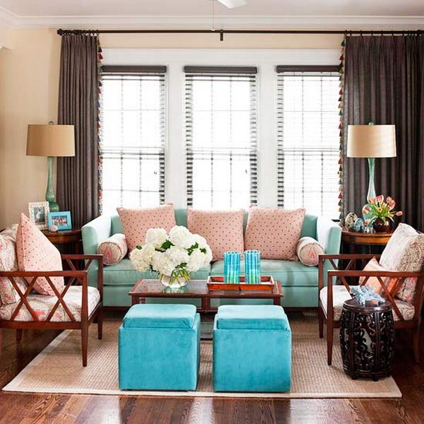 Salas en color turquesa ideas para decorar dise ar y for Sala gris con turquesa