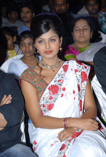 Monal Gajjar in Beautiful White Saree Lovely Hairstyle at Sudigadu Audio Release Must See Beauty