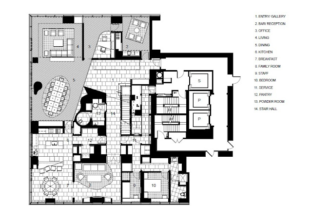 Floor plan of upper floor of Bloomberg Tower penthouse