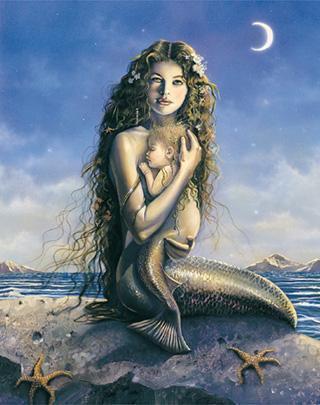 Sirenas, pon tus imagenes. Sirena+y+su+hijo