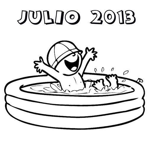 Dibujo de un ni o en una piscina haciendo referencia al for Alberca 8 de julio