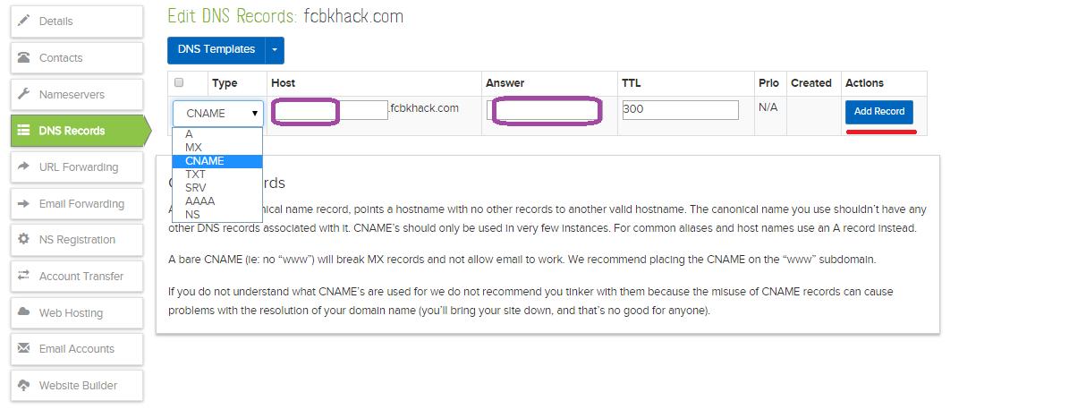 añadiendo registros a cname