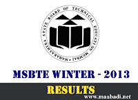 MSBTE Winter 2013 Exam Results