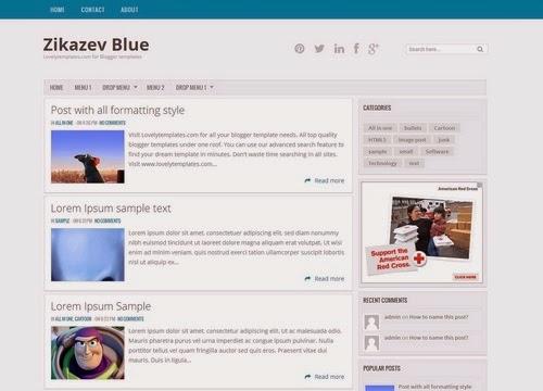Chia sẻ Zikazev Blue Blogger Template chuẩn Seo