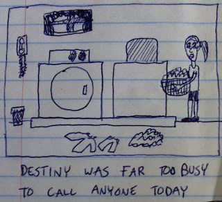 Destiny is too busy with laundry to talk on the phone