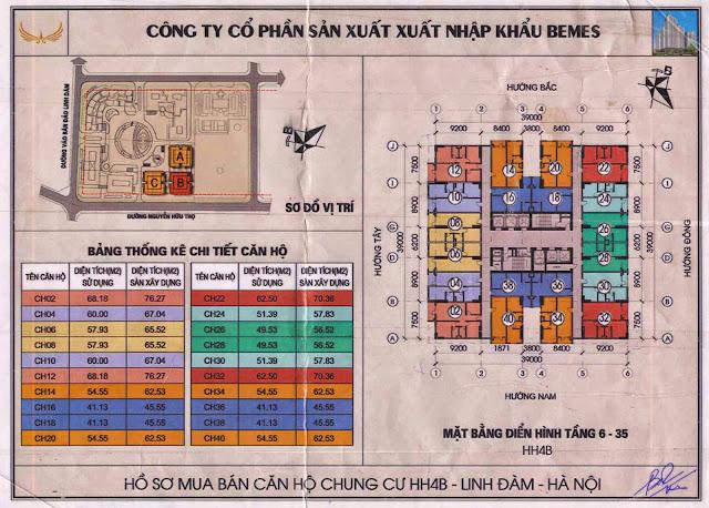 Mặt bằng tầng 6 - 35 chung cư hh4b linh đàm