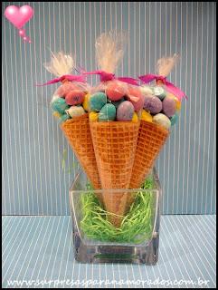 cones de doces para a páscoa
